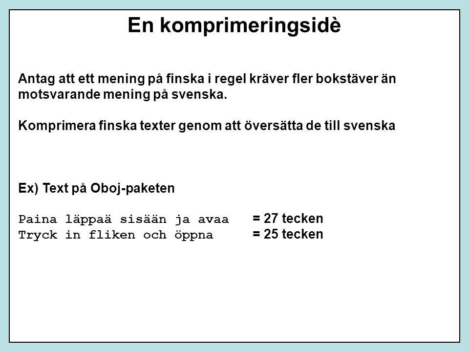 En komprimeringsidè Antag att ett mening på finska i regel kräver fler bokstäver än. motsvarande mening på svenska.