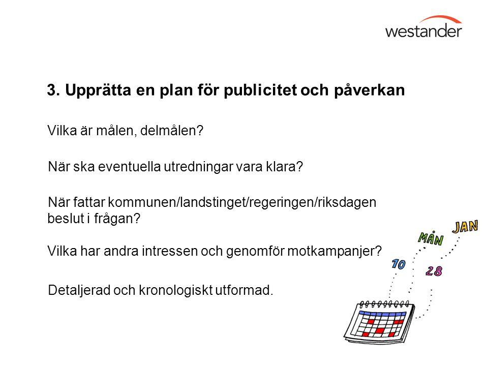 3. Upprätta en plan för publicitet och påverkan