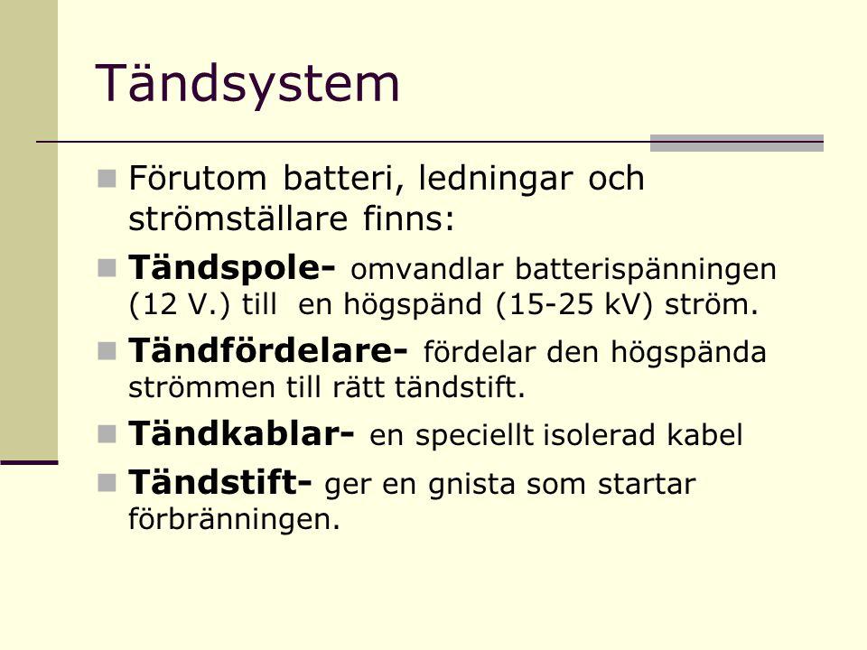 Tändsystem Förutom batteri, ledningar och strömställare finns: