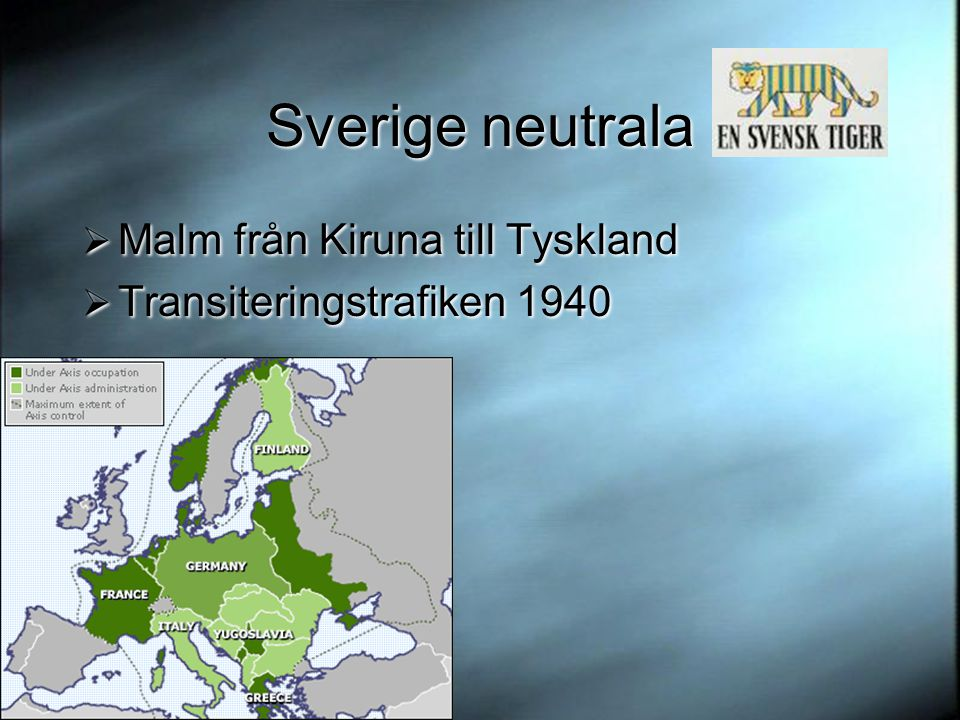 Sverige neutrala Malm från Kiruna till Tyskland