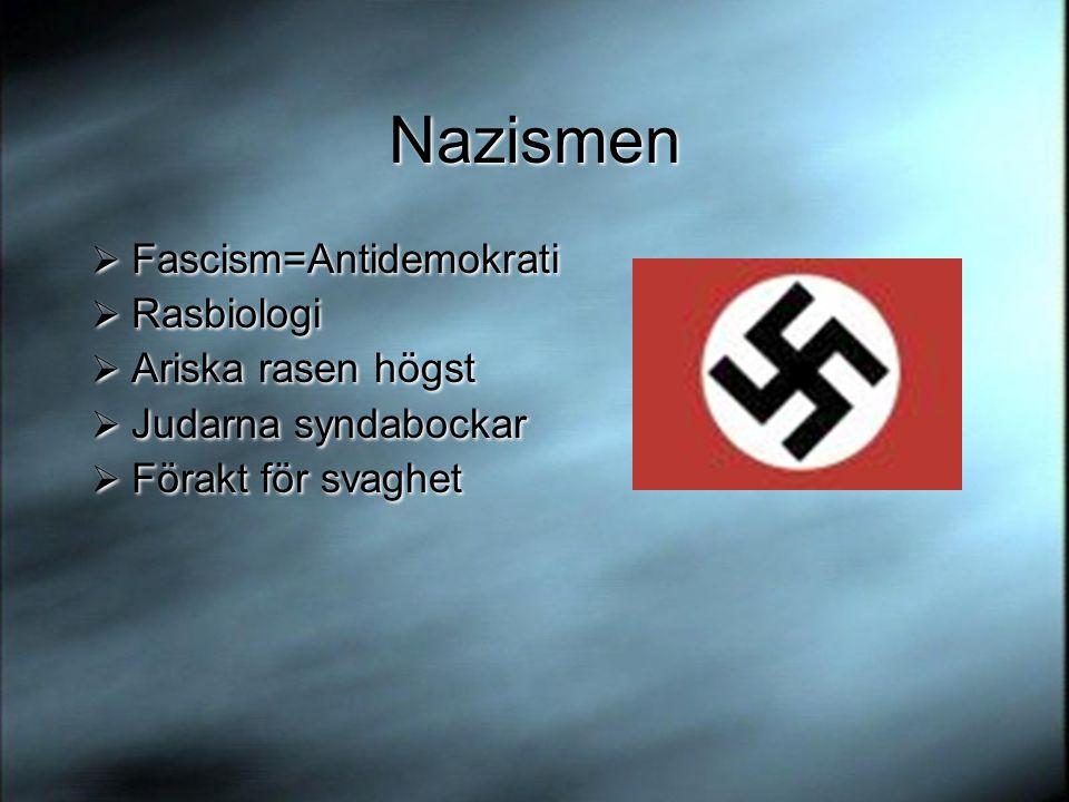 Nazismen Fascism=Antidemokrati Rasbiologi Ariska rasen högst