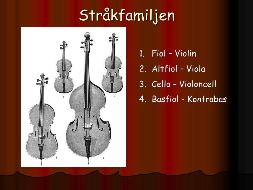Stråkfamiljen Fiol – Violin Altfiol – Viola Cello – Violoncell