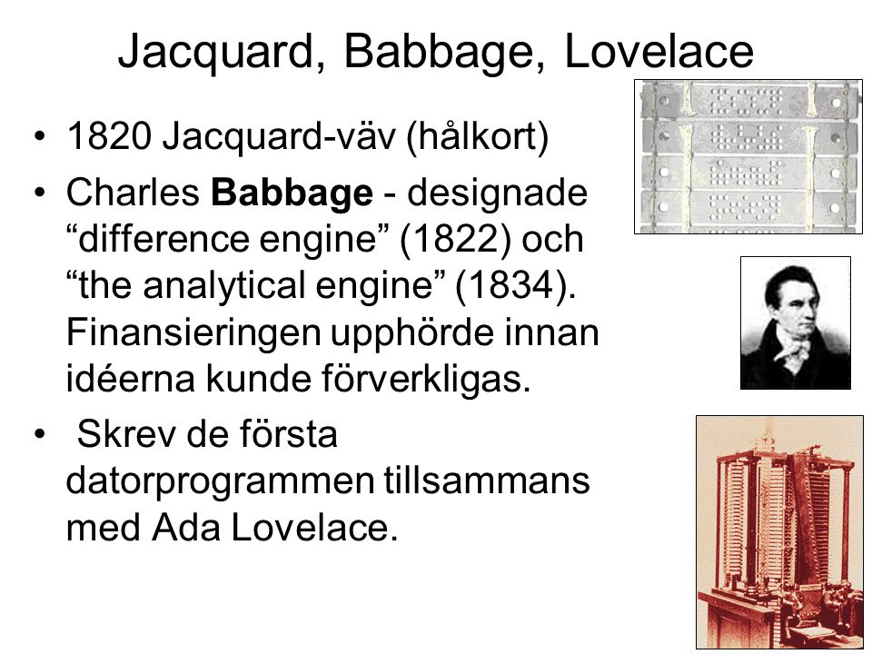 Jacquard, Babbage, Lovelace