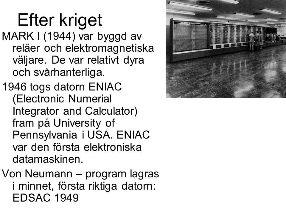 Efter kriget MARK I (1944) var byggd av reläer och elektromagnetiska väljare. De var relativt dyra och svårhanterliga.