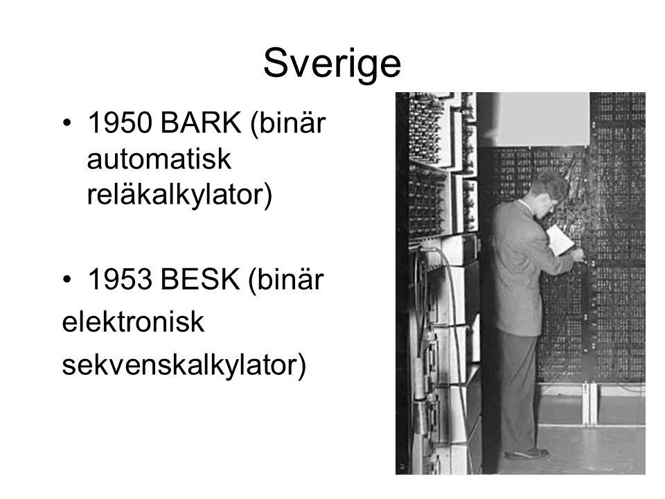 Sverige 1950 BARK (binär automatisk reläkalkylator) 1953 BESK (binär