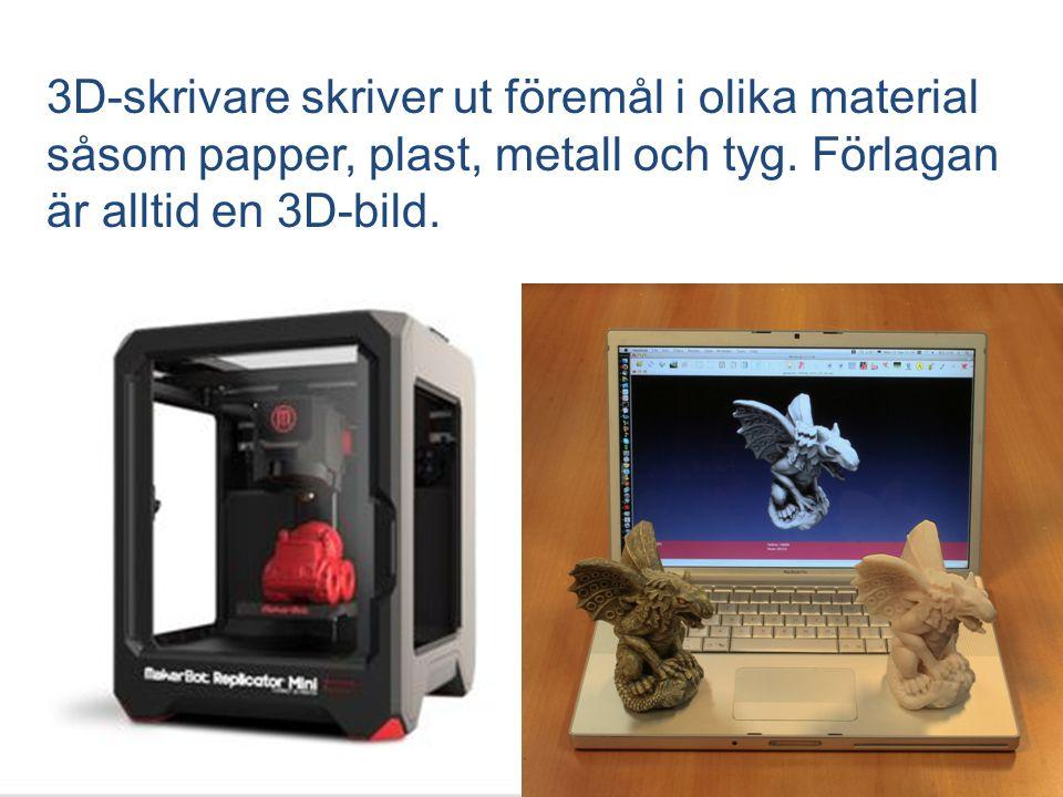 3D-skrivare skriver ut föremål i olika material såsom papper, plast, metall och tyg.