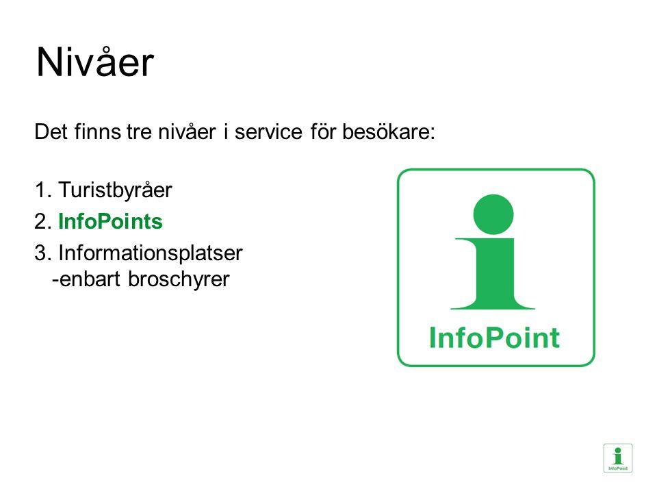 Nivåer Det finns tre nivåer i service för besökare: 1. Turistbyråer