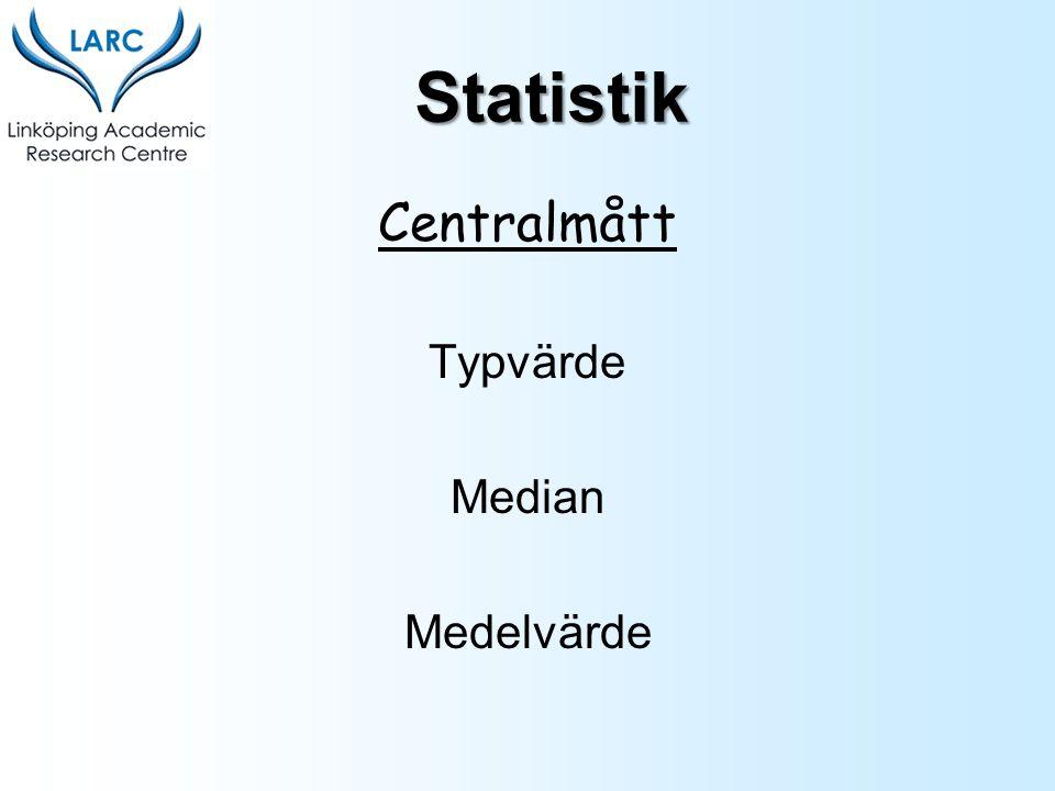 Statistik Centralmått Typvärde Median Medelvärde