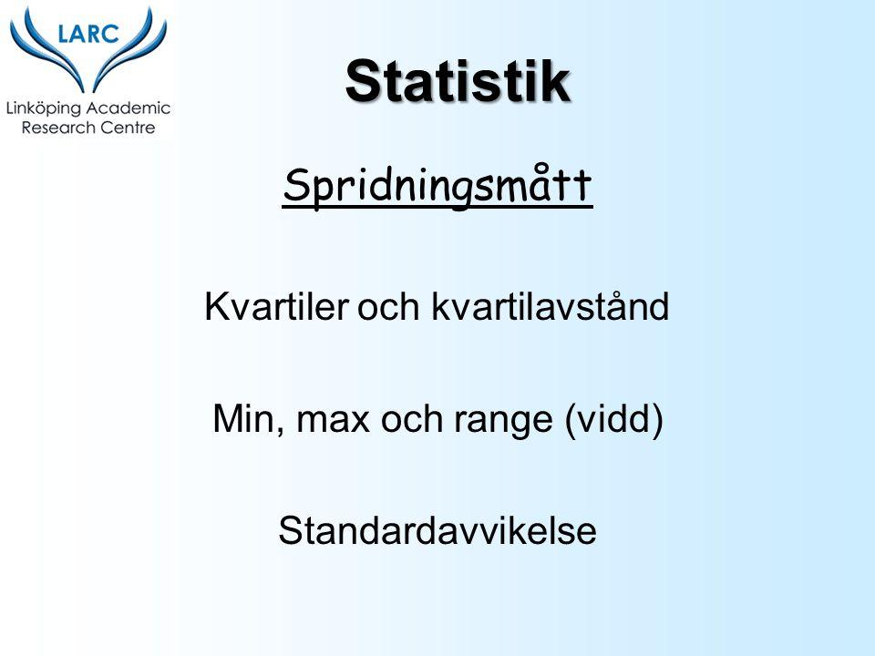 Statistik Spridningsmått Kvartiler och kvartilavstånd
