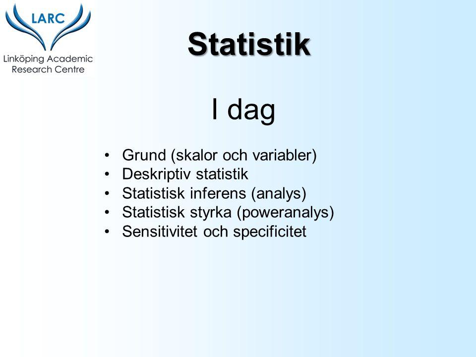 Statistik I dag Grund (skalor och variabler) Deskriptiv statistik