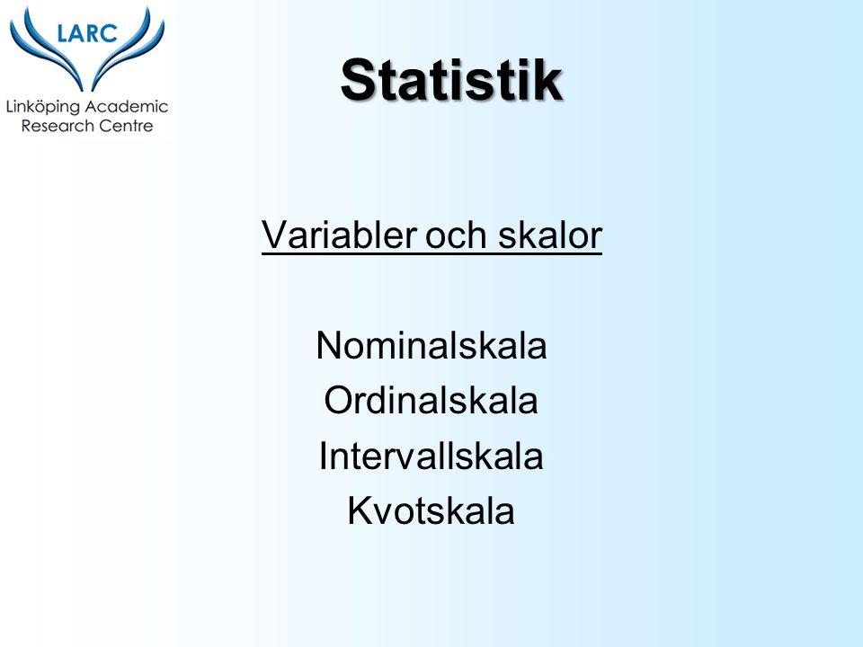 Statistik Variabler och skalor Nominalskala Ordinalskala