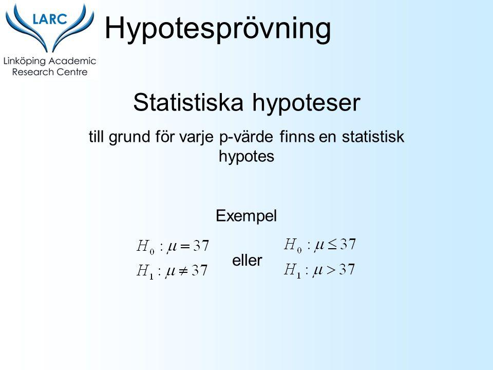 Hypotesprövning Statistiska hypoteser