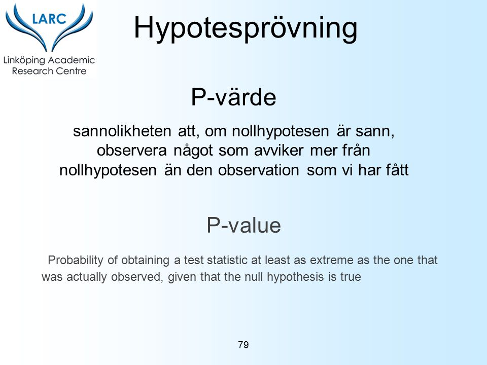 Hypotesprövning P-värde P-value