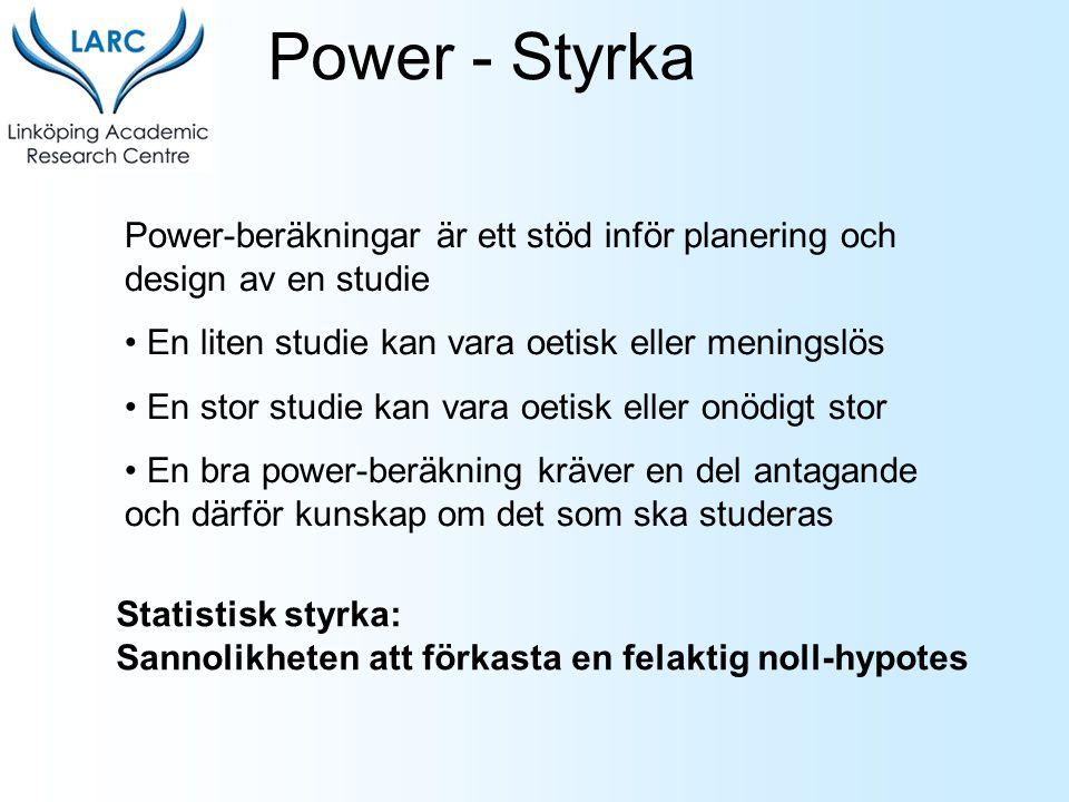 Power - Styrka Power-beräkningar är ett stöd inför planering och design av en studie. En liten studie kan vara oetisk eller meningslös.