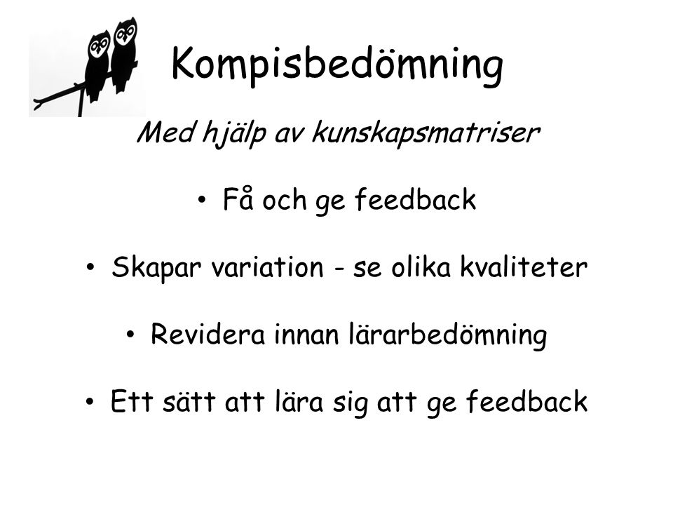 Kompisbedömning Med hjälp av kunskapsmatriser Få och ge feedback