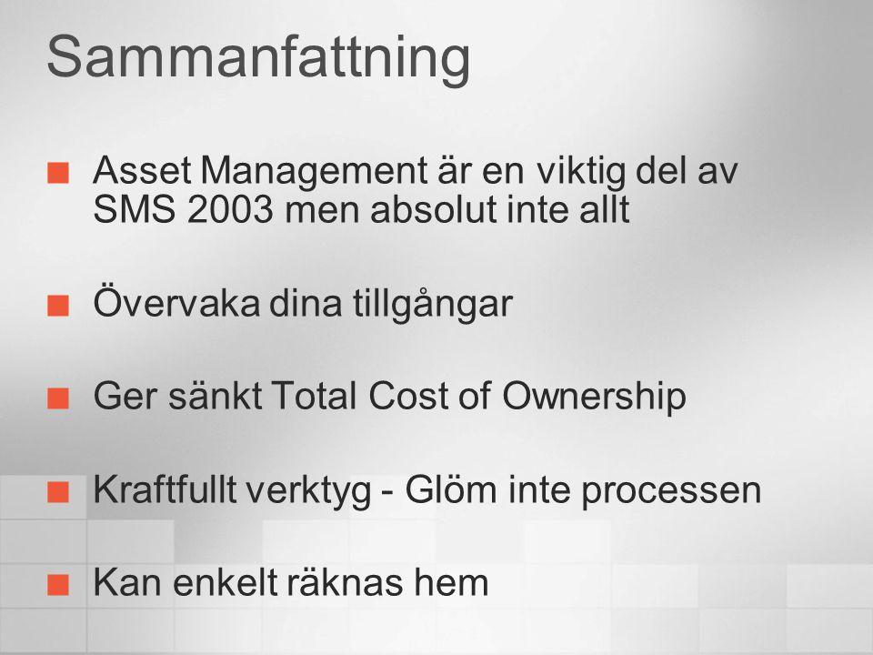 4/12/2017 5:44 PM Sammanfattning. Asset Management är en viktig del av SMS 2003 men absolut inte allt.