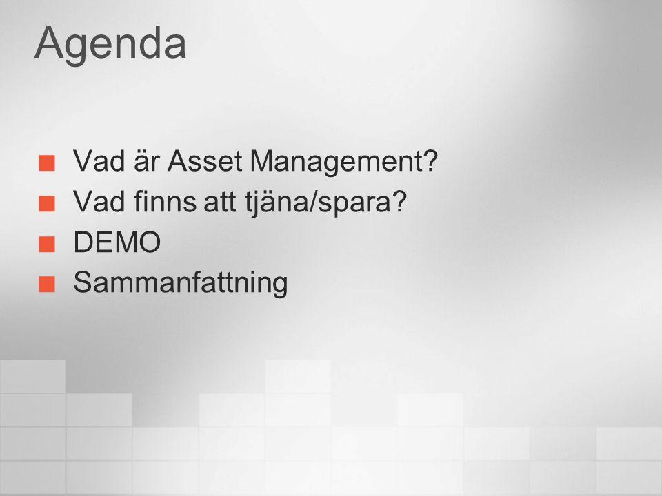 Agenda Vad är Asset Management Vad finns att tjäna/spara DEMO