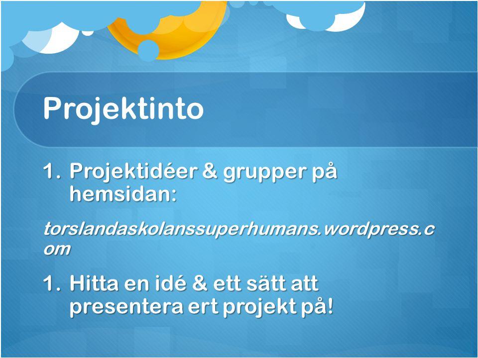 Projektinto Projektidéer & grupper på hemsidan: