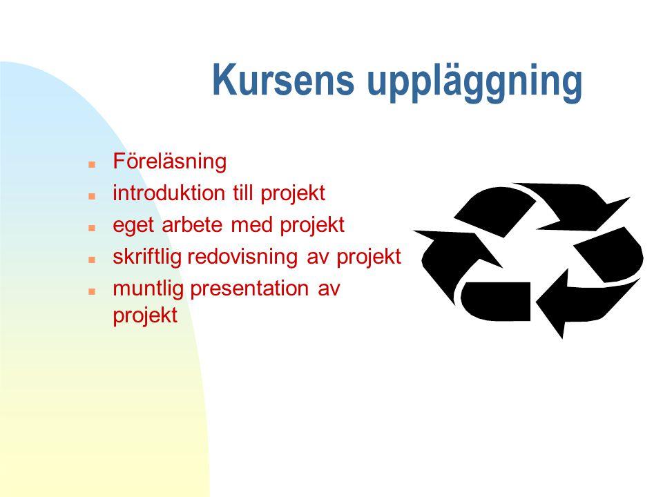Kursens uppläggning Föreläsning introduktion till projekt