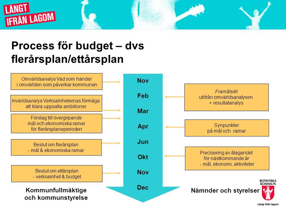 Process för budget – dvs flerårsplan/ettårsplan