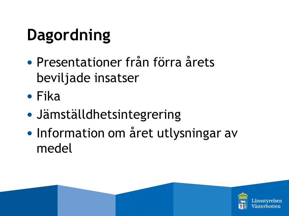 Dagordning Presentationer från förra årets beviljade insatser Fika