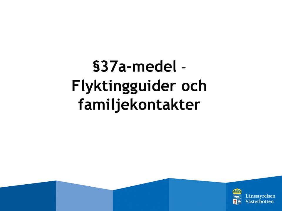 §37a-medel - Flyktingguider och familjekontakter