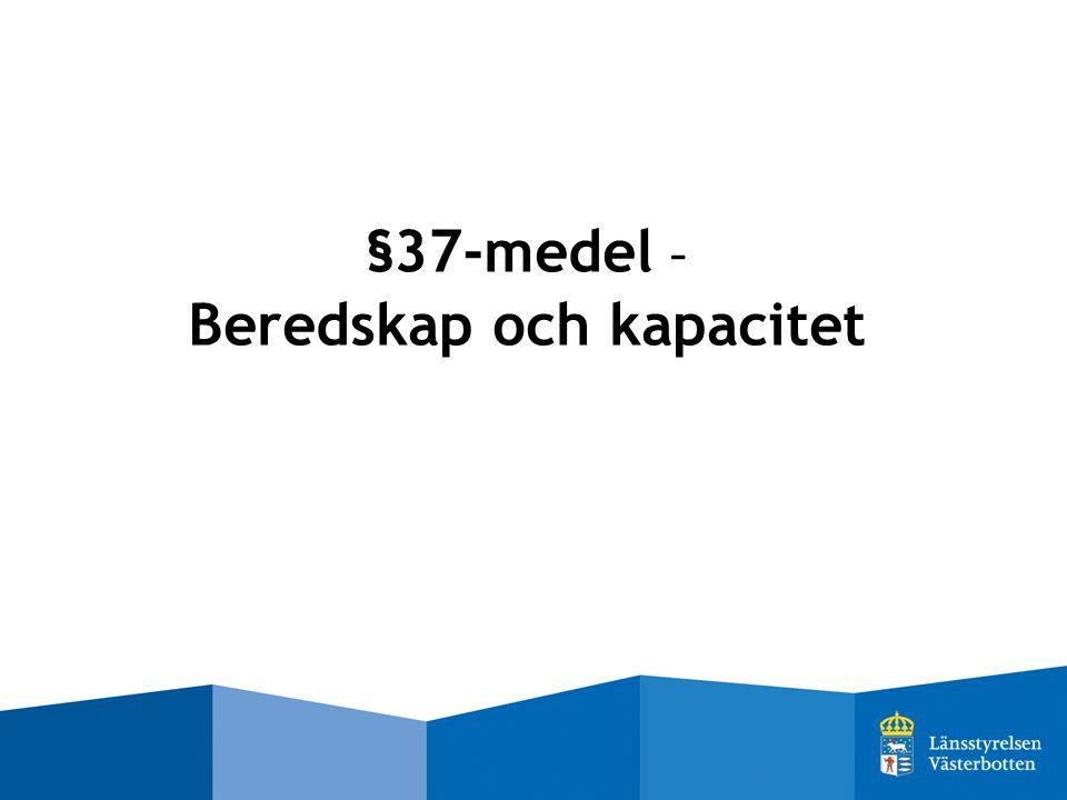 §37-medel - Beredskap och kapacitet
