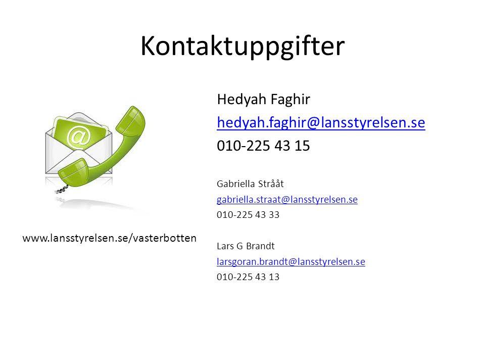 Kontaktuppgifter Hedyah Faghir hedyah.faghir@lansstyrelsen.se