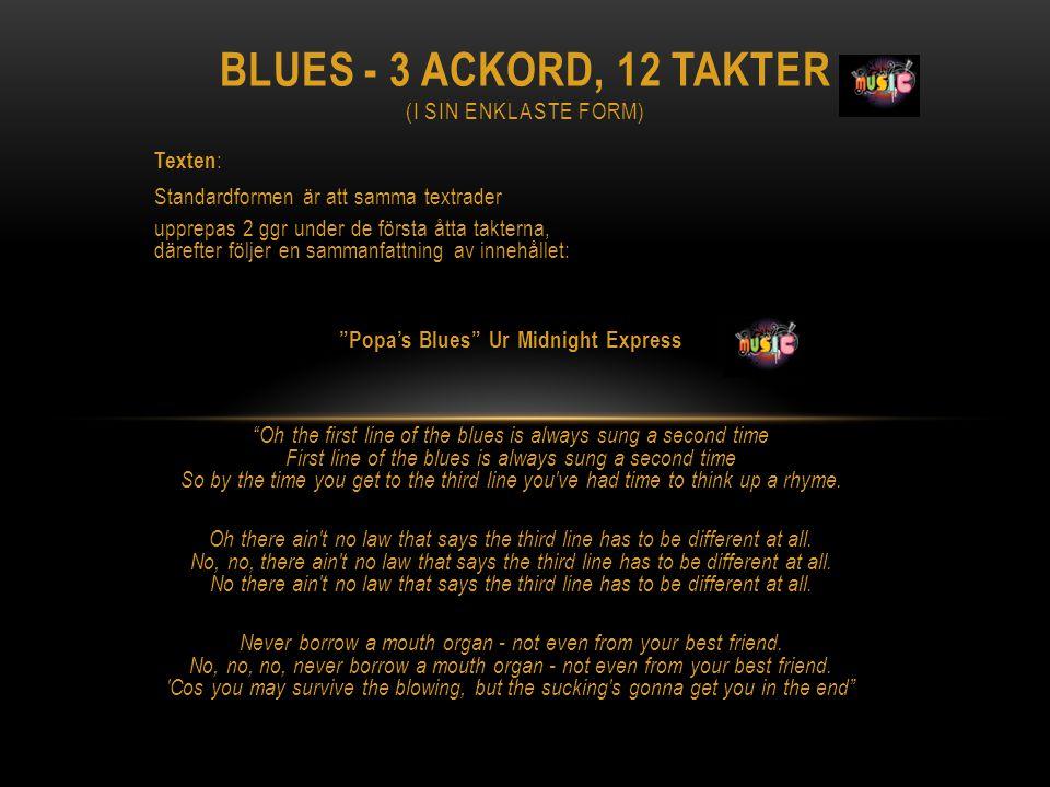 Blues - 3 ACKORD, 12 TAKTER (i sin enklaste form)