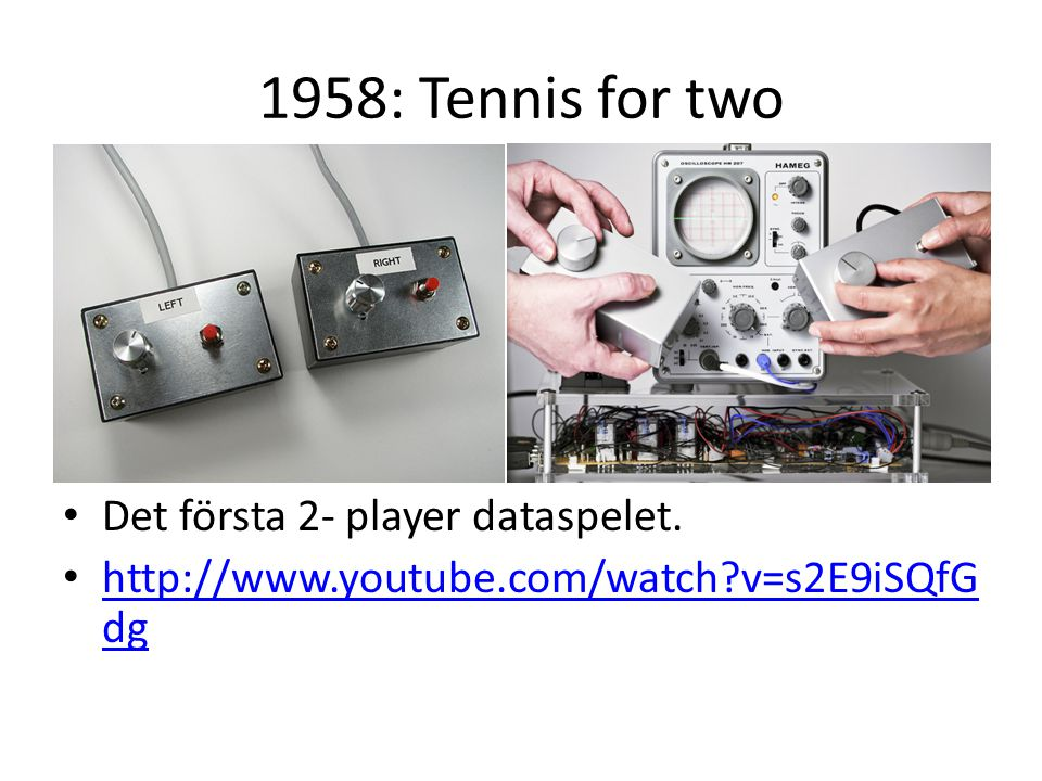 1958: Tennis for two Det första 2- player dataspelet.