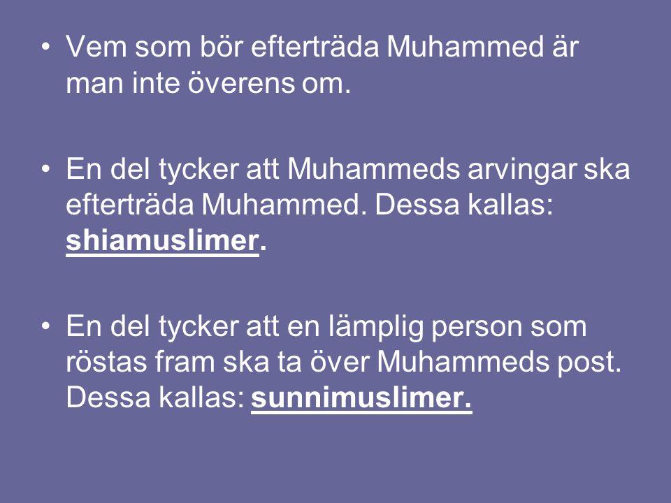 Vem som bör efterträda Muhammed är man inte överens om.