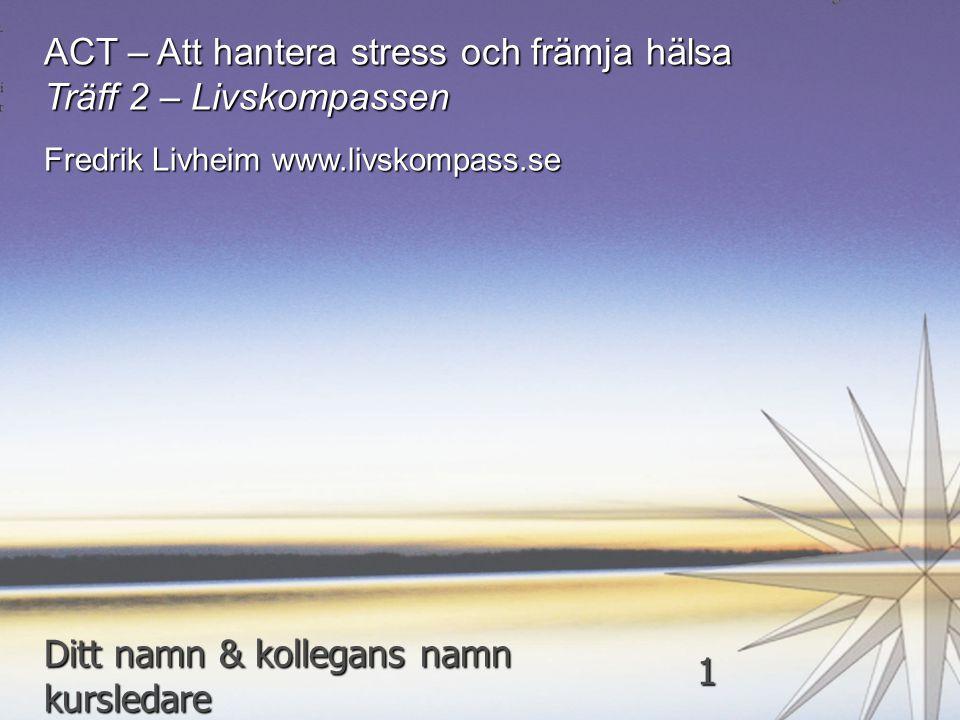 ACT – Att hantera stress och främja hälsa Träff 2 – Livskompassen