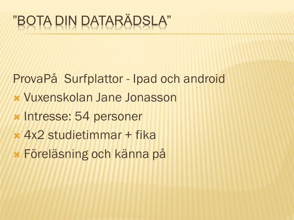 Bota din datarädsla ProvaPå Surfplattor - Ipad och android. Vuxenskolan Jane Jonasson. Intresse: 54 personer.