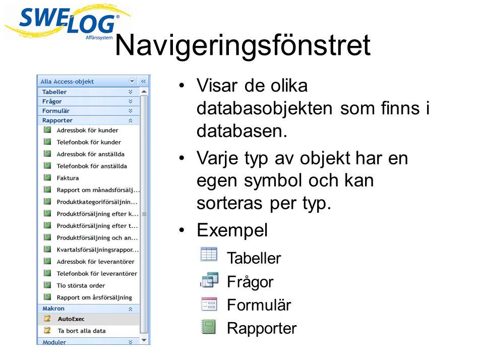 Navigeringsfönstret Visar de olika databasobjekten som finns i databasen. Varje typ av objekt har en egen symbol och kan sorteras per typ.