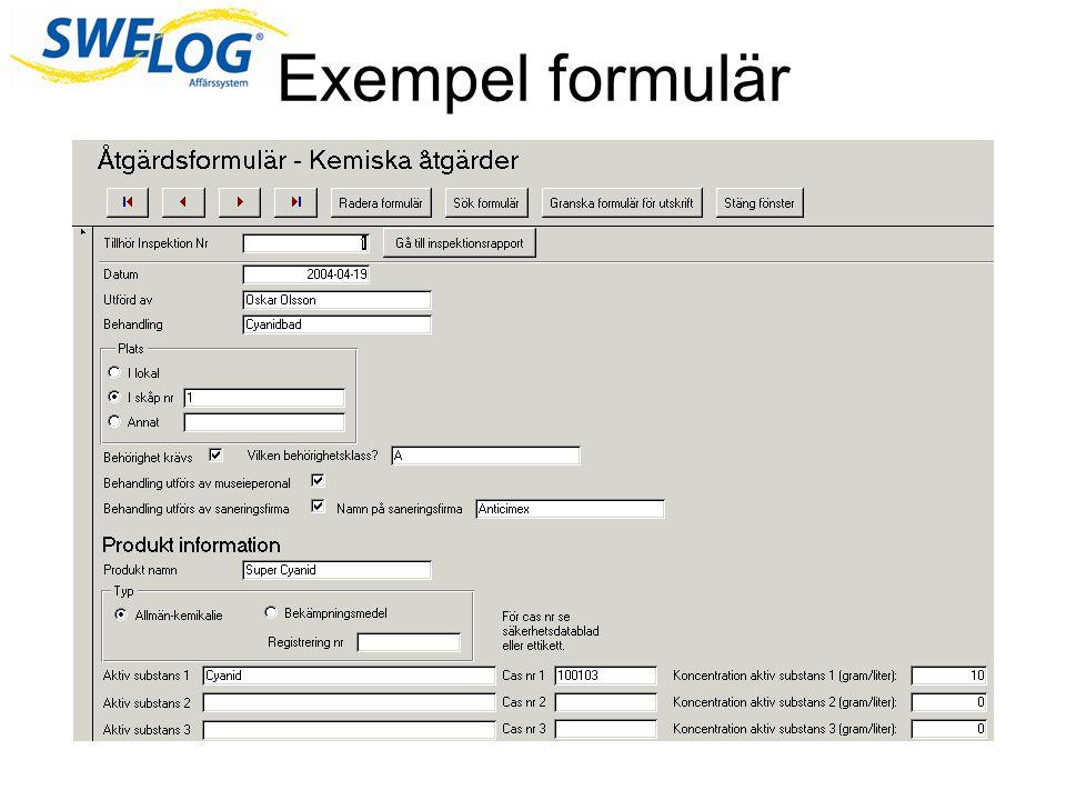 Exempel formulär Här är ett exempel på hur ett formulär skulle kunna se ut.