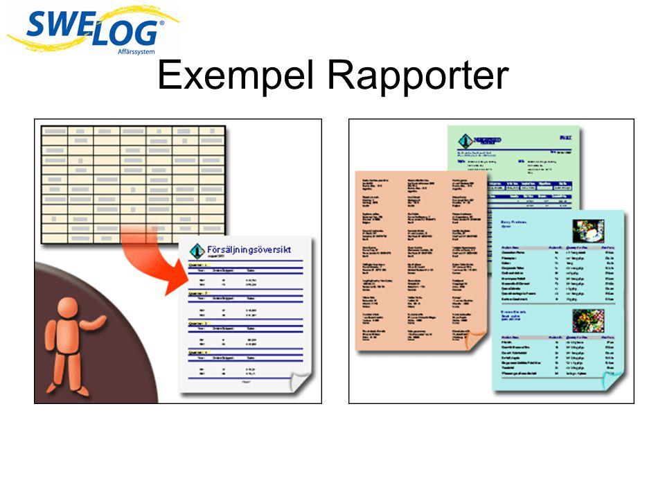 Exempel Rapporter En rapport kan se ut i stort sett hur som helst.