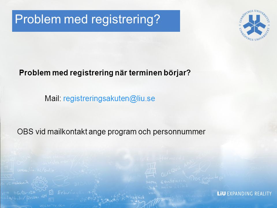 Problem med registrering