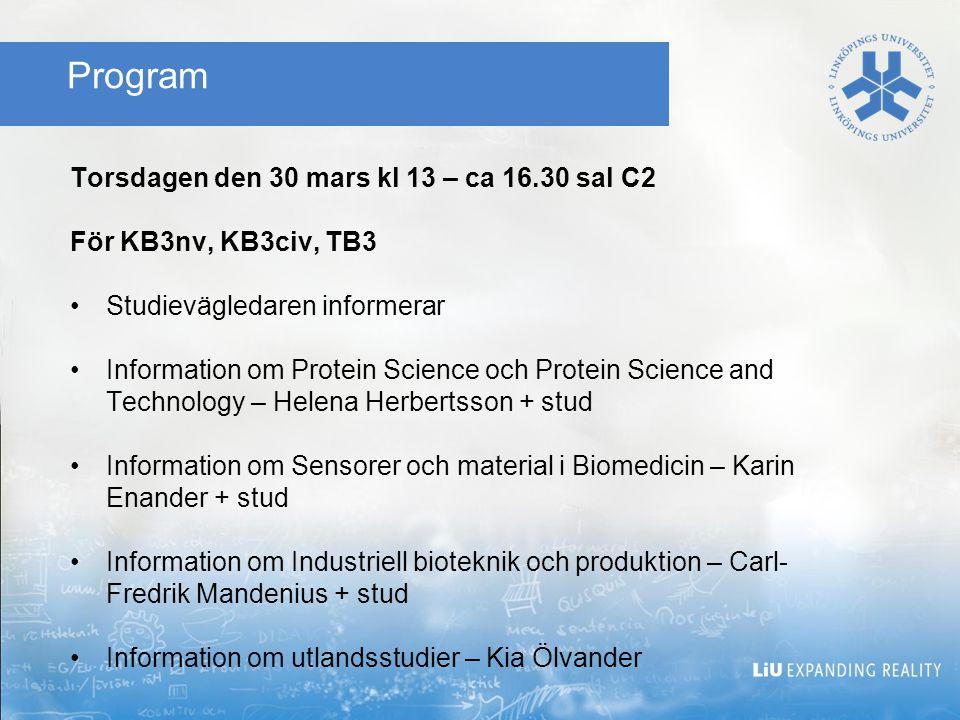 Program Torsdagen den 30 mars kl 13 – ca 16.30 sal C2