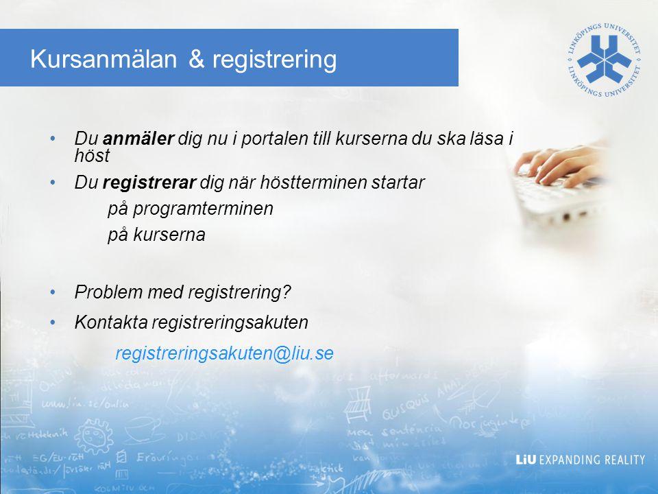 Kursanmälan & registrering