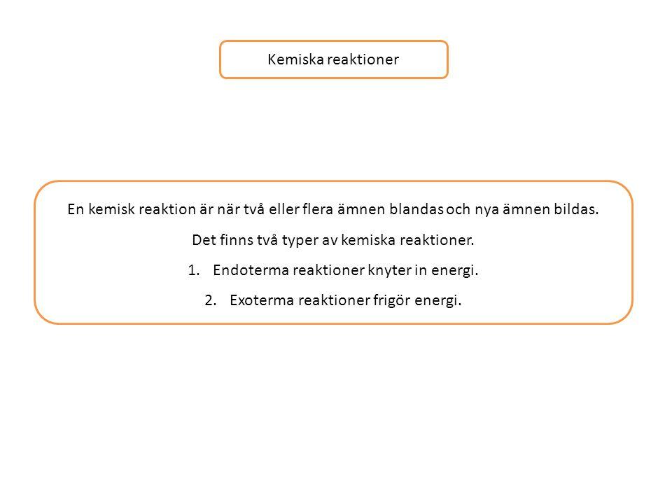 Det finns två typer av kemiska reaktioner.