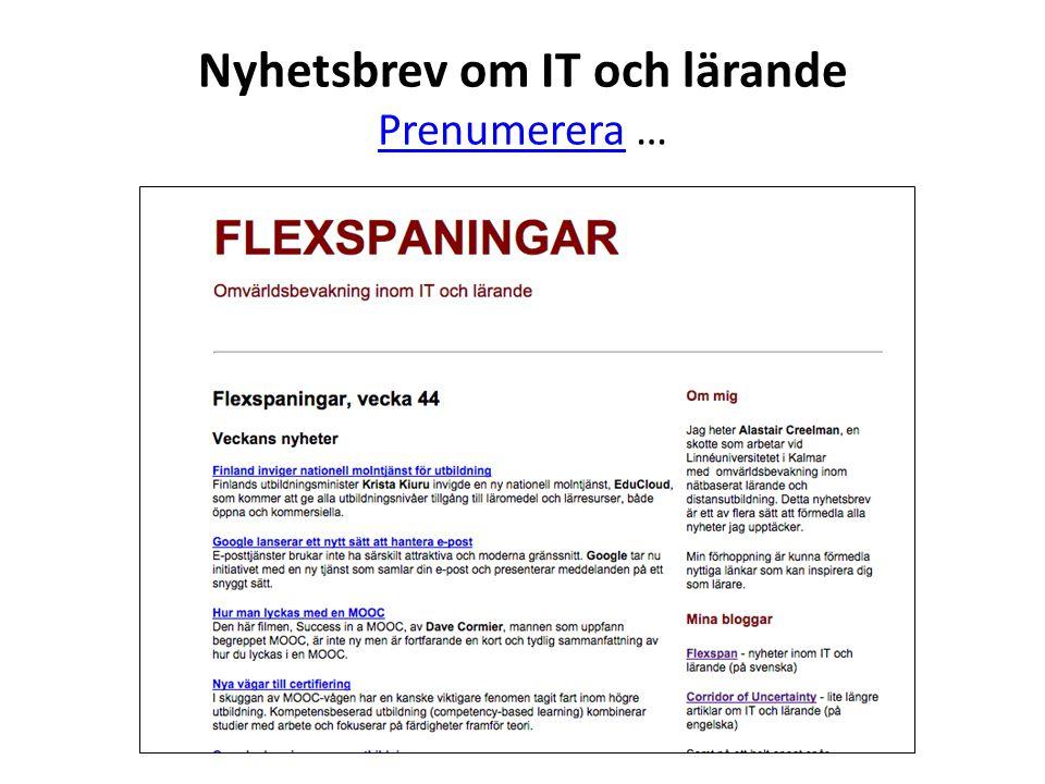 Nyhetsbrev om IT och lärande Prenumerera …