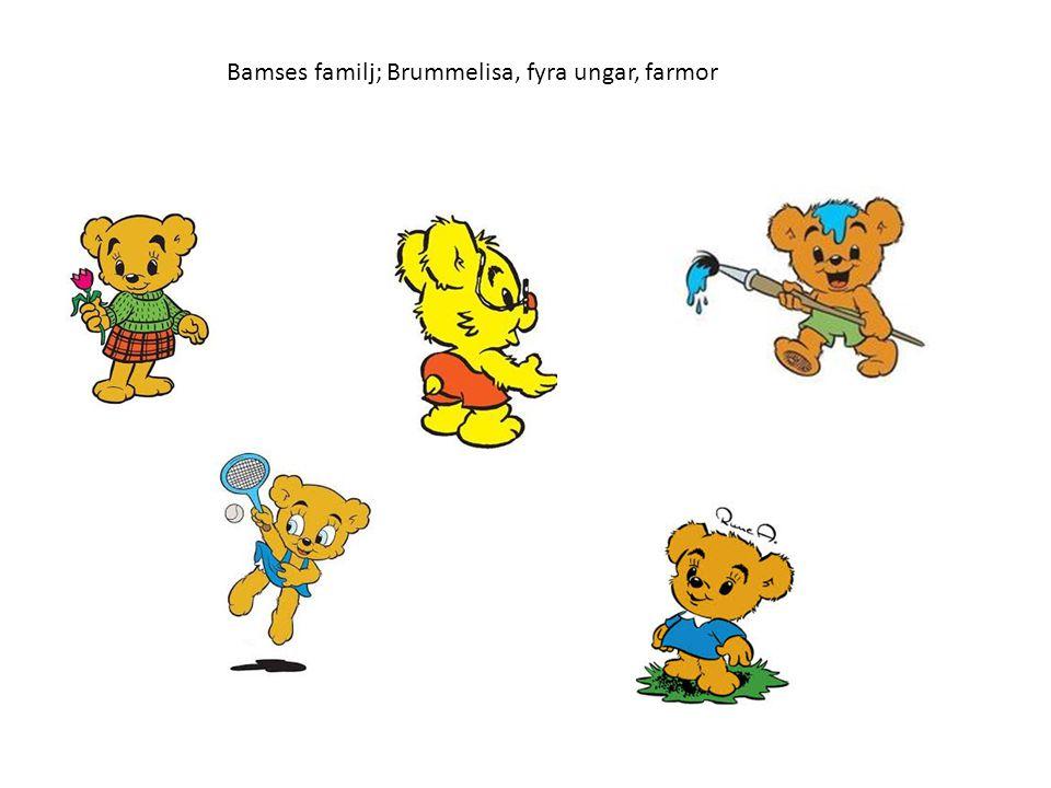 Bamses familj; Brummelisa, fyra ungar, farmor