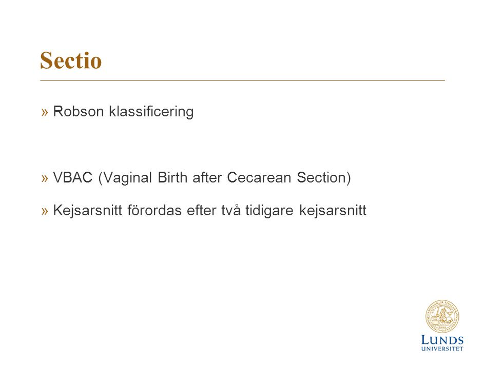 Sectio Robson klassificering