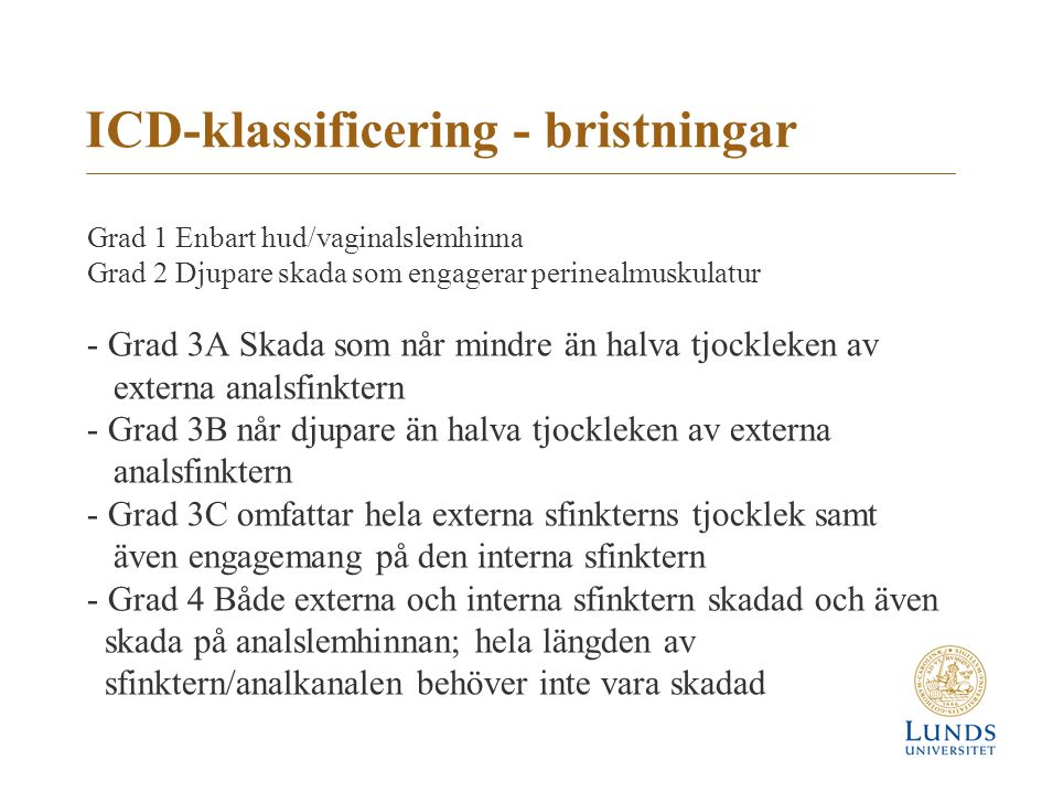 ICD-klassificering - bristningar