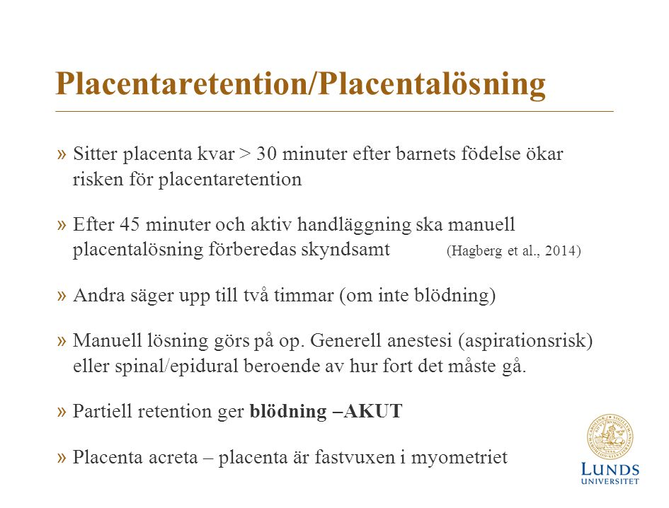 Placentaretention/Placentalösning