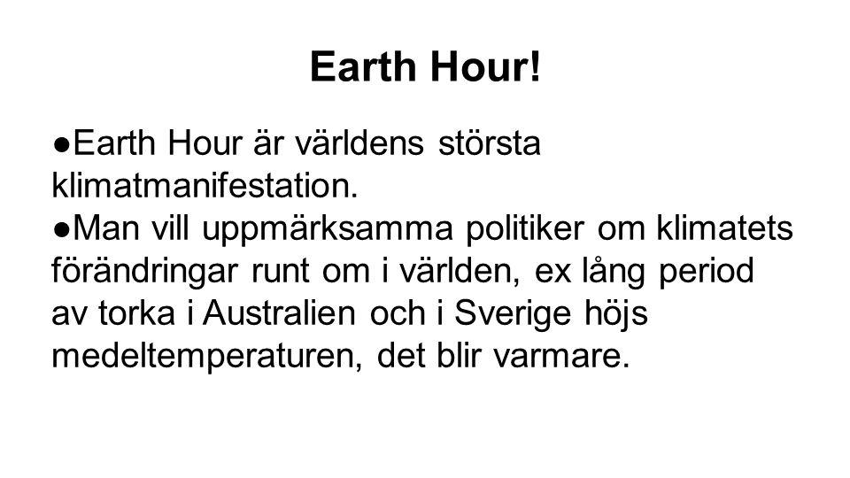 Earth Hour! Earth Hour är världens största klimatmanifestation.