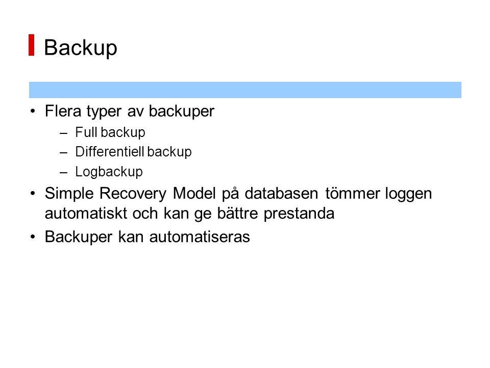 Backup Flera typer av backuper