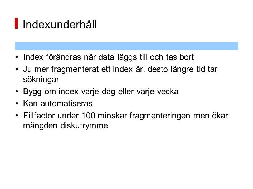Indexunderhåll Index förändras när data läggs till och tas bort