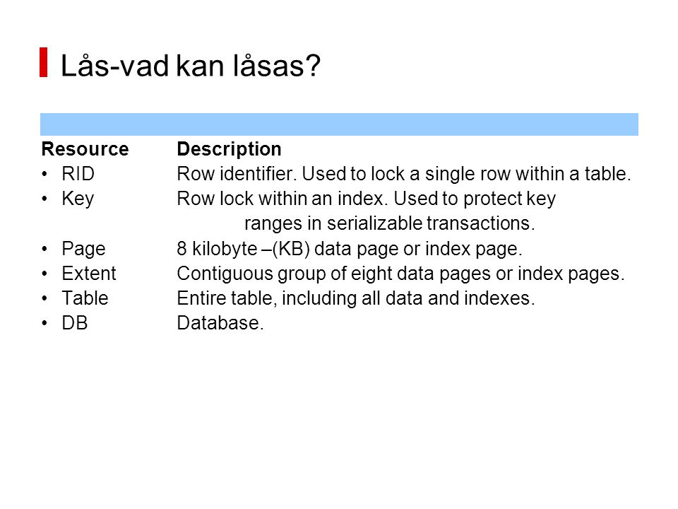 Lås-vad kan låsas Resource Description