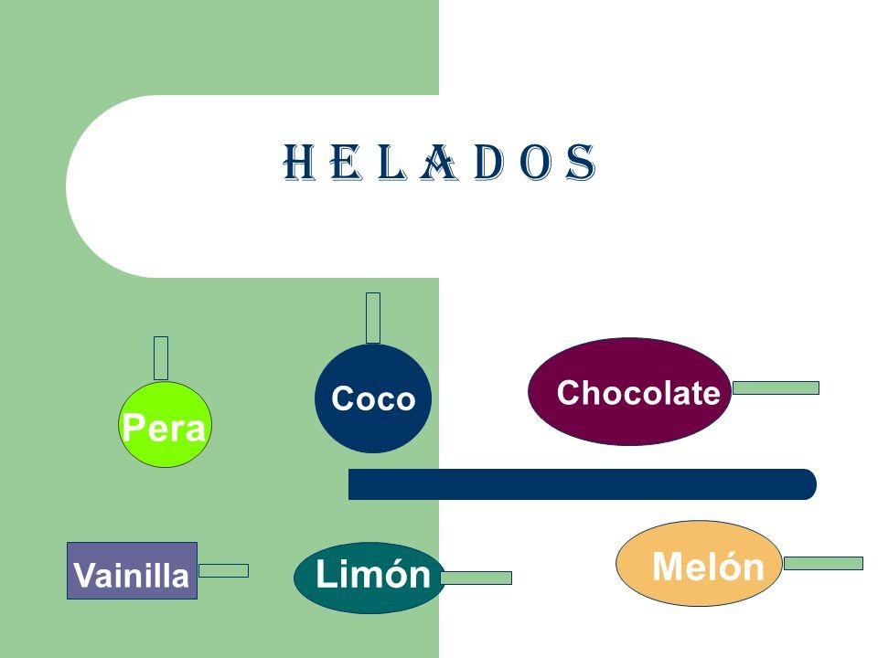 H e l a d o s Coco Chocolate Pera Melón Vainilla Limón